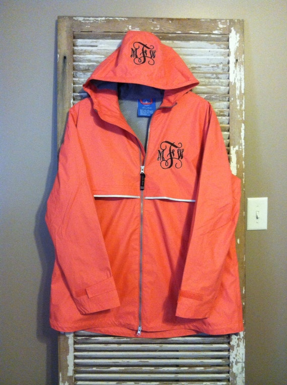 items similar to monogrammed rain jacket charles river new englander wind aqua coral navy red