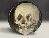 Skull optical illustion Woman at her Vanity - pin button, magnet, mirror, or bottle opener 2.25 round circle - Your choice