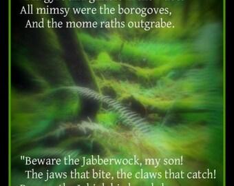 Fridge Magnet Jabberwocky poem Lewis Carroll twas brillig, slithy toves, all mimsy Bandersnatch