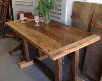 """Reclaimed Wooden Farm Table 25"""" x 50"""" x 30"""""""