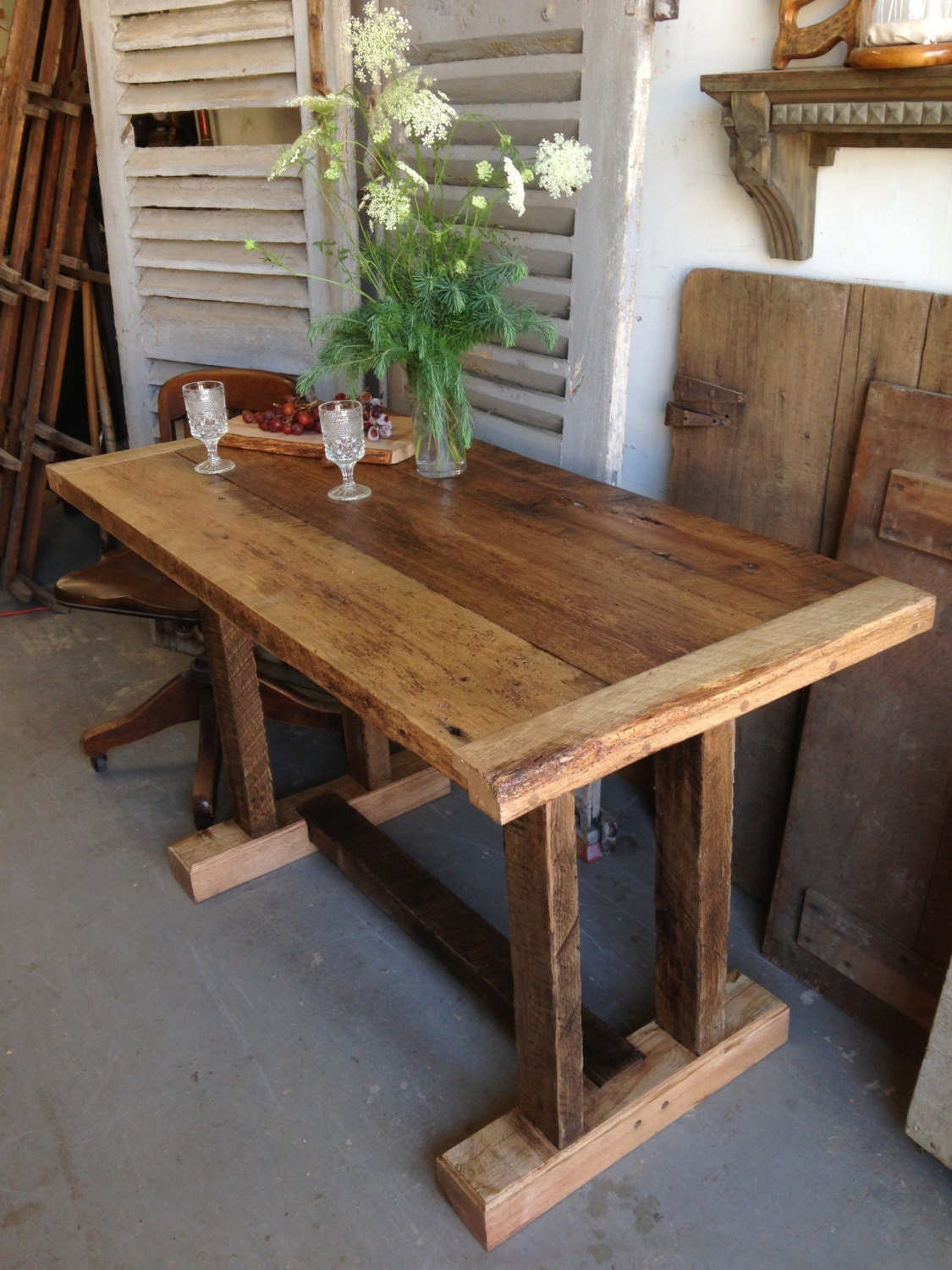 Reclaimed Wooden Farm Table 25 x 50 x 30