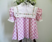 Baby Girl, Five Months, Six Months, Seven Months, Pink Gingham Dress, White Collar with Embroidered Floral Trim and Eyelet Ruffling