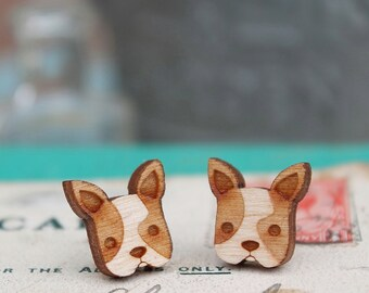 Laser Cut Wooden French Bulldog Stud Earrings/ Frenchie Stud Earrings