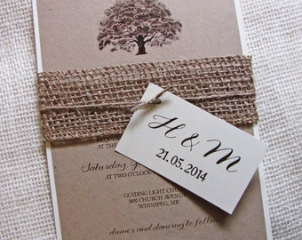 Rustic Wedding Invitation, Oak Tree Wedding Invitation, Burlap Wedding Invitation