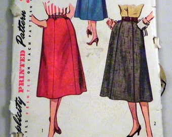 1950s Gored Skirt sewing pattern Rockabilly Simplicity 4375 Waist size 30""