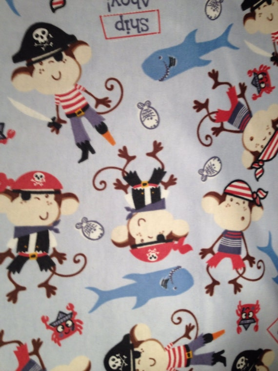 Flannel pirate monkeys on blue pirate fabric monkey for Kids pirate fabric