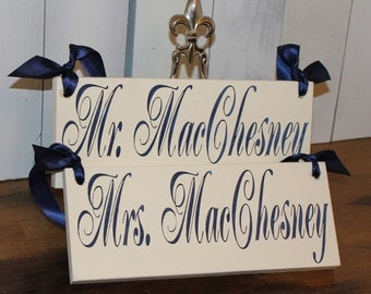 BRIDE - GROOM Chair Signs/Personalized/Photo Prop/U Choose Colors/Great Shower Gift/Ivory/Navy
