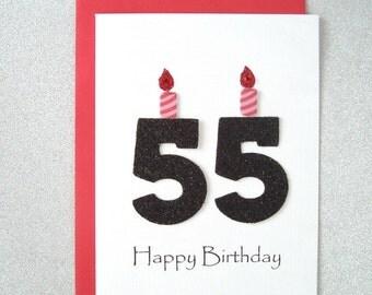 55th Birthday Card, 55th Milestone Birthday Card, 55th Birthday Greeting Card, Fifty Fifth Happy Birthday Greeting Card, The Big 55 Card