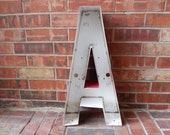 """Very Large Reclaimed RED Metal Sign Letter """"A"""", Red, Great Gift, Industrial Salvage, Home Decor, Office Decor, Industrial Decor"""