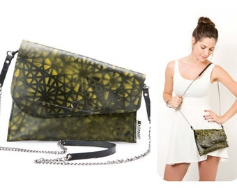 SALE - Black and Yellow Crossbody Bag - Recycled Clutch Bag - Woman Evening Purse with a Removable Chain Strap - SALE 50% Off