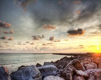 Beach Photography, Venice Florida South Jetty, Sunset Photography, Fine Art Photography, Golden Sunset,