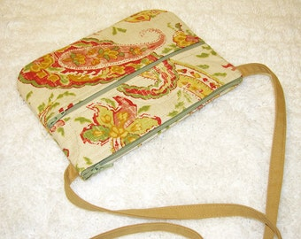 Small Purse Crossbody, Flax Blend Fabric with Twill Strap - Red, Gold, Pink, Green, Eggshell 3 Pocket Zippered Purse