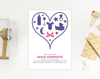Bow Baby Shower Girl Invitation - Heart Icons