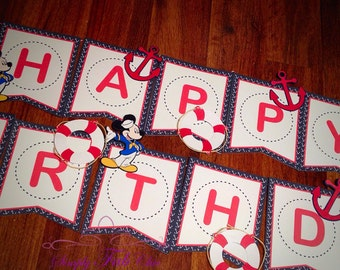 Sailor Mickey Birthday Banner / Nautical Banner / Mickey Mouse Party Banner