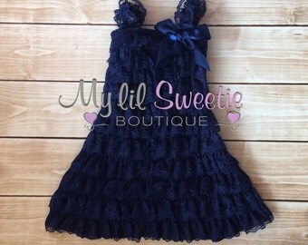 Navy dress, Lace dress, baby girl outfit, infant outfit, special occasion dress, toddler dress, girls dress, blue lace dress