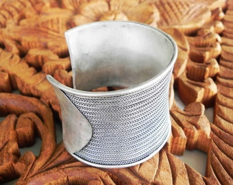 Wide ethnic woven silver Hmong tribal cuff bracelet