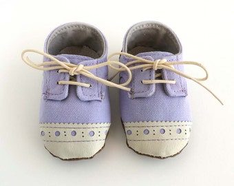 Baby Girl Shoes Light Purple Lilac Canvas with Brogued Leather Soft Sole Shoes Oxford Wingtips Wing tips