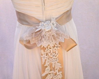 Bridal Sash-Wedding Sash In Champagne And Ivory With Crystal Lace Cascade, Side Or Back Positioning, Color Choices, Wedding Dress Sash