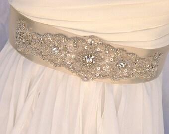 Beaded Bridal Sash-Wedding Sash In Pale Champagne, Beaded Sash, Wedding Dress Sash, Bridal Belt