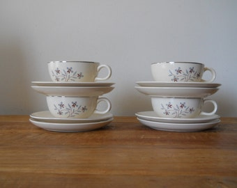 Set of 4 Vintage Cups, Saucers, Dessert Plates and Small Bowls