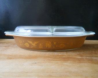 Pyrex Early American Oval Divided Dish