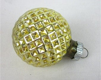 Vintage Shiny Brite Glass Waffle Christmas Tree Ornament, Gold