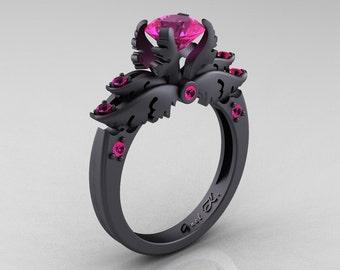 Classic Angel 14K Matte Black Gold 1.0 Carat Pink Sapphire Solitaire Engagement Ring R482-14KMBGPS
