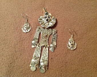 Vintage Sterling Silver Clown Brooch with Pierced Earrings Set