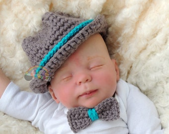 Newborn Crochet Fedora Baby Boy or Girl Bowler Hat