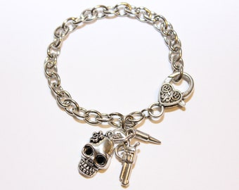 Zombie Skull with Gun and Bullet Charms  - Adjustable Silver Bracelet