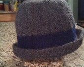 Hand knitted and felted cloche hat