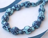 Fabric Necklace,Teething Necklace, Chomping Necklace, Nursing Necklace - Floral Blues