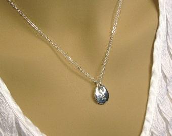 Silver Teardrop Necklace, Pure Silver Personalized Necklace, Silver Initial Necklace, Mom Necklace, Custom Silver teardrop Charm Necklace