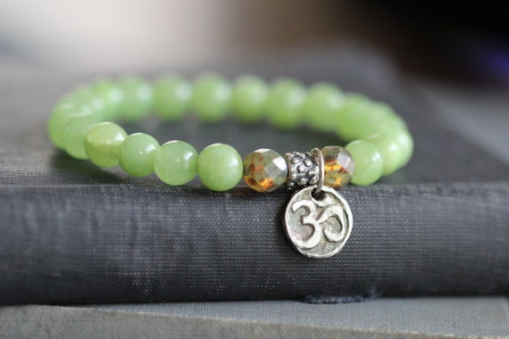 Green Tea Jade Stretch Bracelet // Picasso Glass Beads // Om Charm // Silver Charm Stacking Bracelet