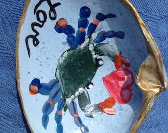 Love Hand Painted Clam Shell Art Chesapeake Bay Blue Crab Beach Decore by Sally Tia Crisp