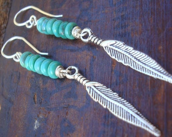 Peaceful | Turquoise earrings | BLUE or GREEN turquoise | antique silver feathers | turquoise stones & SS ear-wires | native american | boho