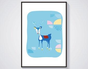 Illustration - Blue Deer - Poster / Print