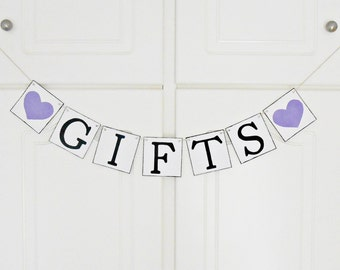 FREE SHIPPING, Gifts banner, Bridal shower banner, Wedding banner, Engagement party decor, Wedding signs, Bachelorette party decor, Purple