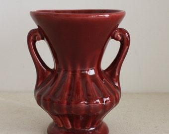 Small Vintage Deep Red Violet Vase Urn