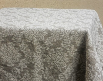 Linen tablecloth washed taupe white damask jacquard heavy weight table cloth
