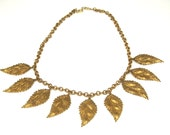 Vintage Figural Copper Leaf Necklace
