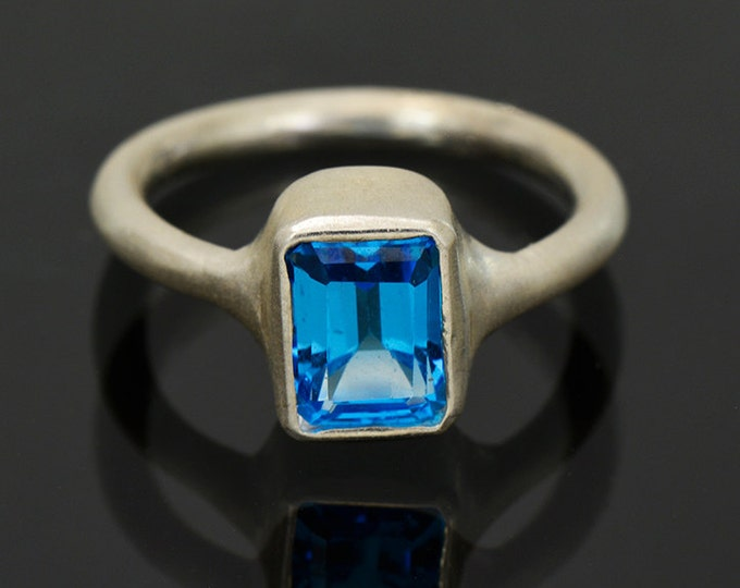 UPRISING SALE! Lovely Swiss Blue Topaz Ring in Sterling Silver, Matte finish and Stackable