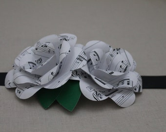 Sheet Music paper flower wrist corsage