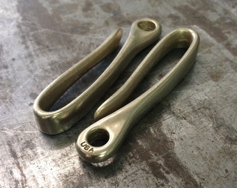 Solid Brass Key Loop Belt Hook - Made in USA