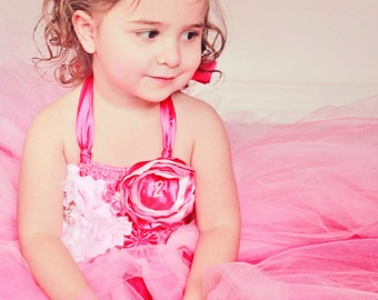 Pink Birthday girl tutu dress with handmade flower accents with birthday number, all colors available
