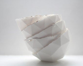 Geometric faceted polyhedron white bowl made from stoneware bone china with real gold finish in four sizes -  geometric decor - ring dish