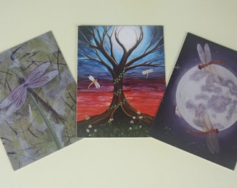 Dragonfly Gift / Note Card Pack of 3 - Whimsical Nature Art featuring my Watercolour & Acrylic Paintings - Choose your designs