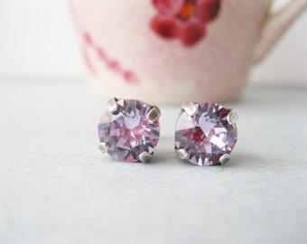 Light Purple Stud Earrings Swarovski Elements Violet Spring Wedding Jewelry Everyday Earring Violet Bridesmaid Gift under 15 Choice of Metal
