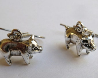 Sterling Silver Small Pig Earrings