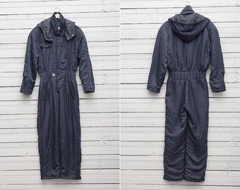Ski Suit / Dark Grey Skirwear Onepiece Snow Suit by Cerruti 1881 / US Size 10 / Women Snowboarding Clothing / Retro Ski Suit